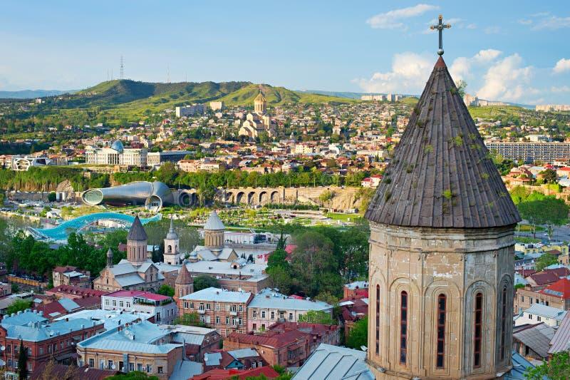 Tbilisi linia horyzontu, Gruzja obraz stock