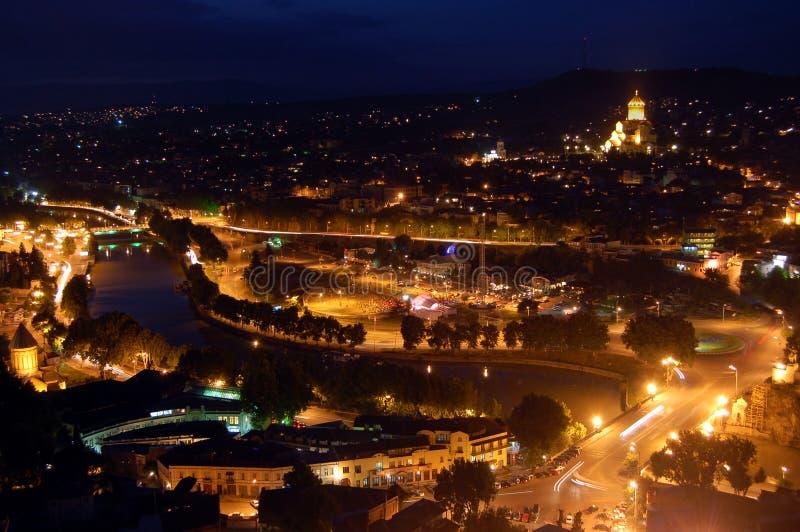 Tbilisi na noite fotografia de stock royalty free