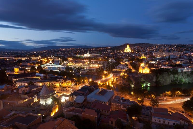 Tbilisi noc widok, Gruzja. obraz stock
