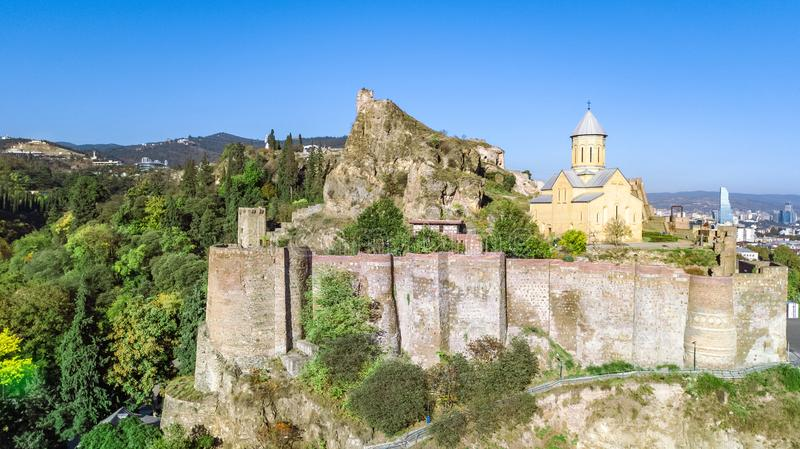Tbilisi skyline aerial drone view from above, Narikala fortress and old town of Tbilisi cityscape, Georgia stock photo
