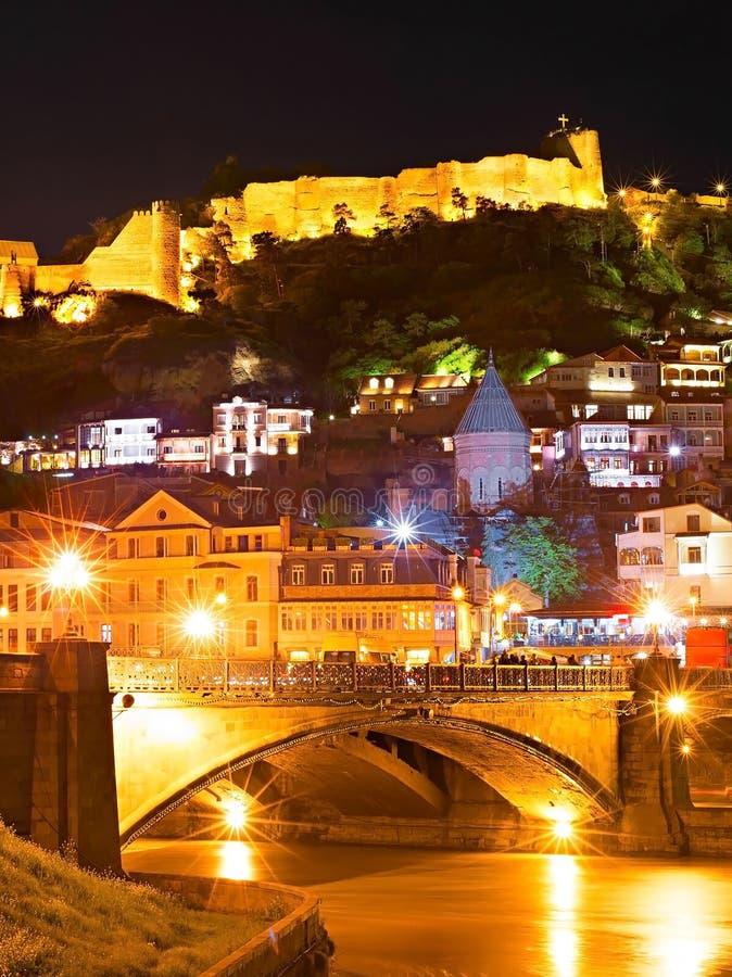 Tbilisi Stary miasteczko przy nocą obrazy royalty free