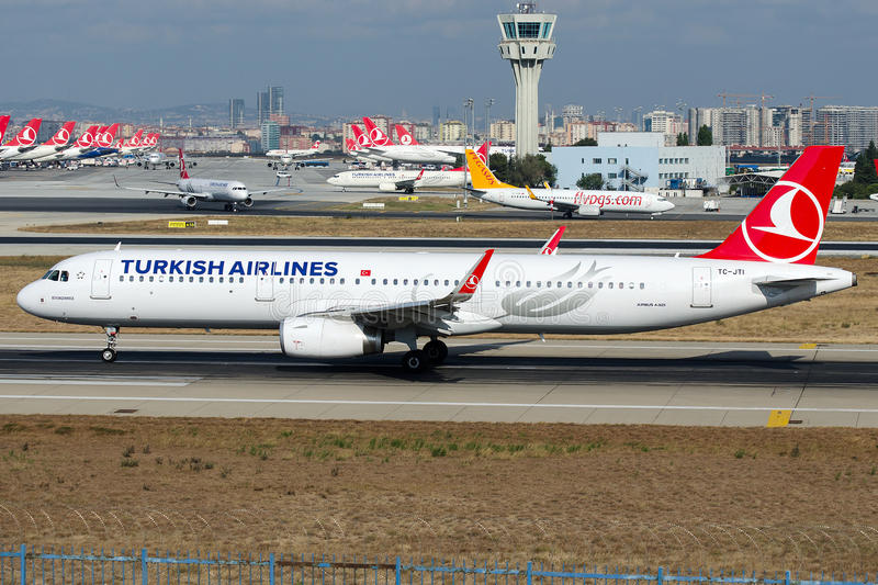 TC-JTI Turkish Airlines, Airbus A321-200 named BUYUKCEKMECE. TC-JTI is rolling for take-off on runway 35L at Istanbul Atatürk Airport LTBA , August 28 , 2016 royalty free stock photo