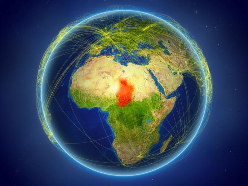 Tchad på jord med nätverk royaltyfri fotografi