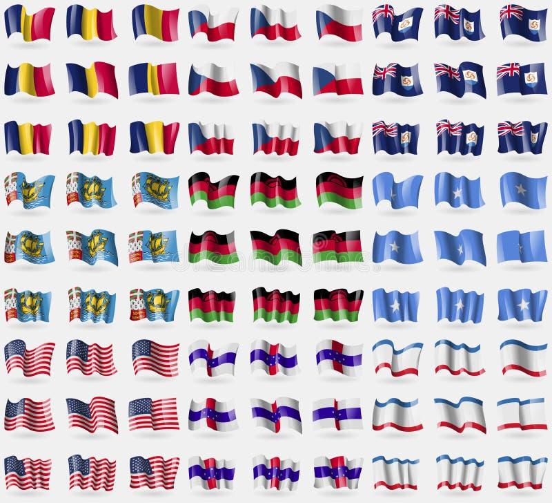 Tchad Tjeckien, Anguilla, St Pierre-miquelon, Malawi, Somalia, USA, nederländska Antillerna, Krim Stor uppsättning av 81 flaggor stock illustrationer
