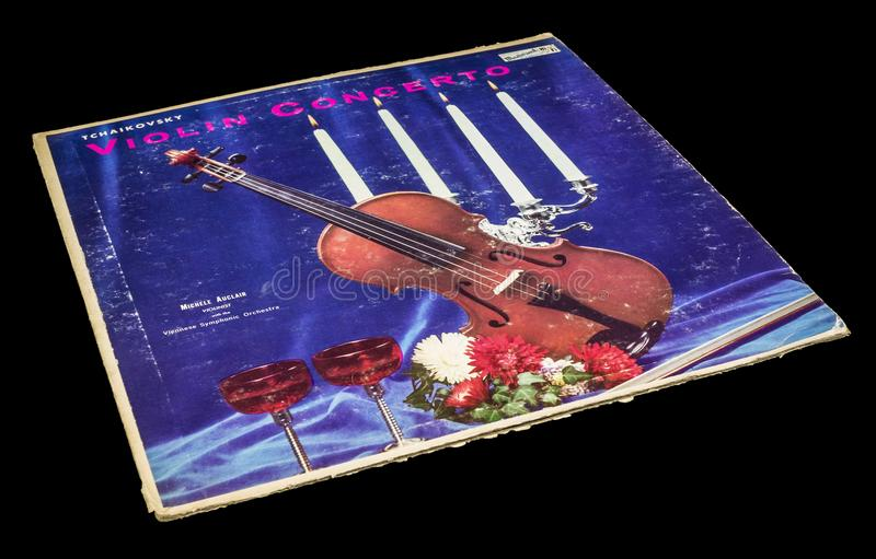 Tchaikovsky-Violinen-Konzert-Album lizenzfreie stockbilder