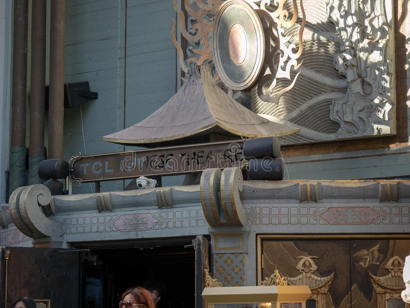 TCL Chinese Theater entrance on the historic Hollywood Walk of Fame. Los Angeles, CA JANUARY 27, 2019: TCL Chinese Theater entrance on the historic Hollywood royalty free stock photos