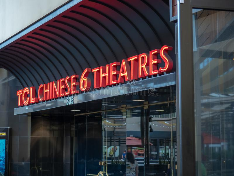 TCL Chinese Theater modern entrance on the historic Hollywood Walk of Fame. Los Angeles, CA JANUARY 27, 2019: TCL Chinese Theater modern entrance on the historic royalty free stock photos