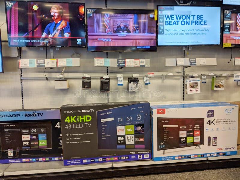 TCL, ostrze i insygnia Rok TVs na pokazie, najlepiej Kupujemy zdjęcie stock