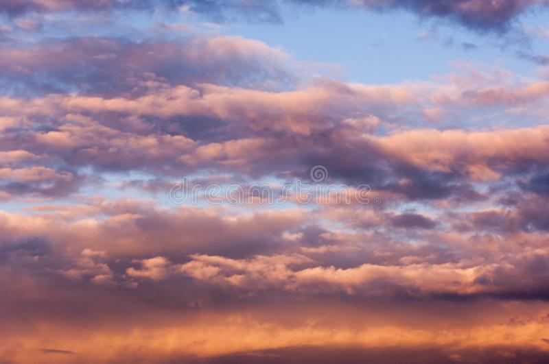 TClouds at sunset (dawn) pastel colors beautiful paints royalty free stock image