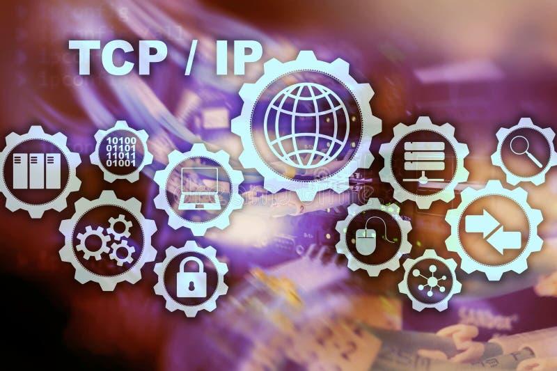Tcp ip network Протокол управления передачей Концепция технологии Интернета иллюстрация вектора
