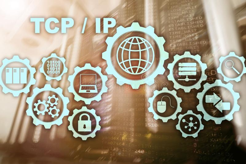 Tcp ip networking. Transmission Control Protocol. Internet Technology concept. stock image