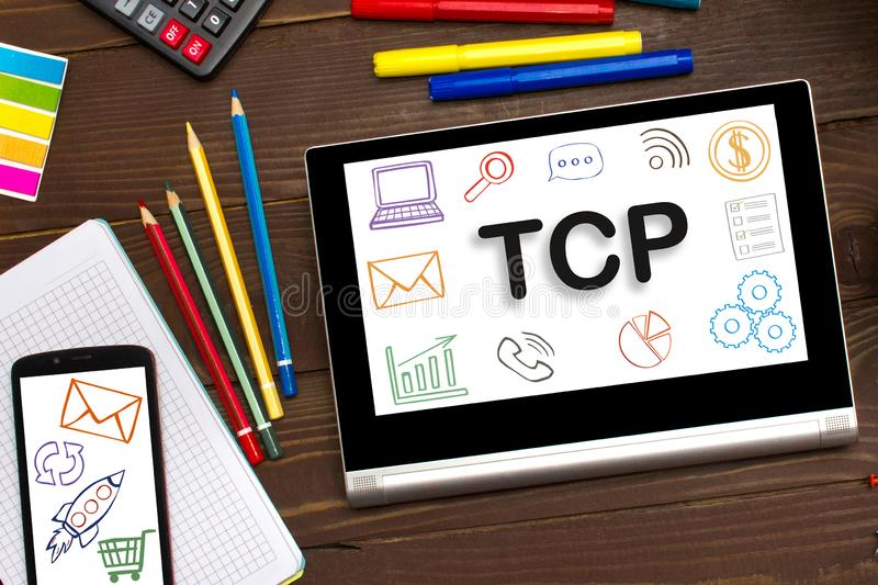 TCP. Transmission Control Protocol the inscription on the touch-screen tablet royalty free stock photography