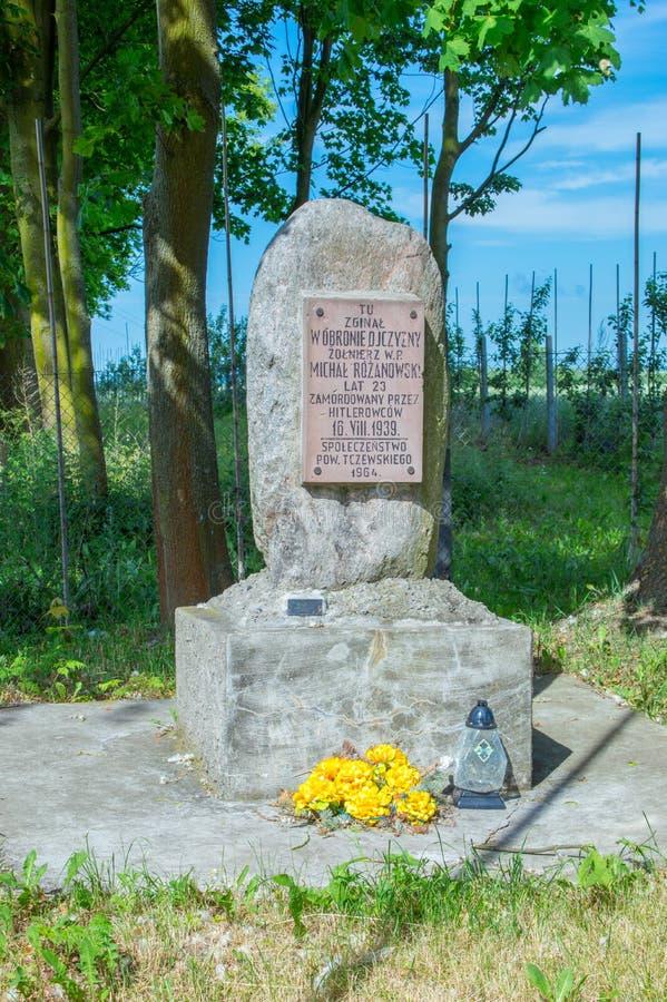 Tczew, Polônia - 18 de junho de 2017: Lugar onde diead Michal Rozanowski durante a pátria de defesa fotos de stock royalty free