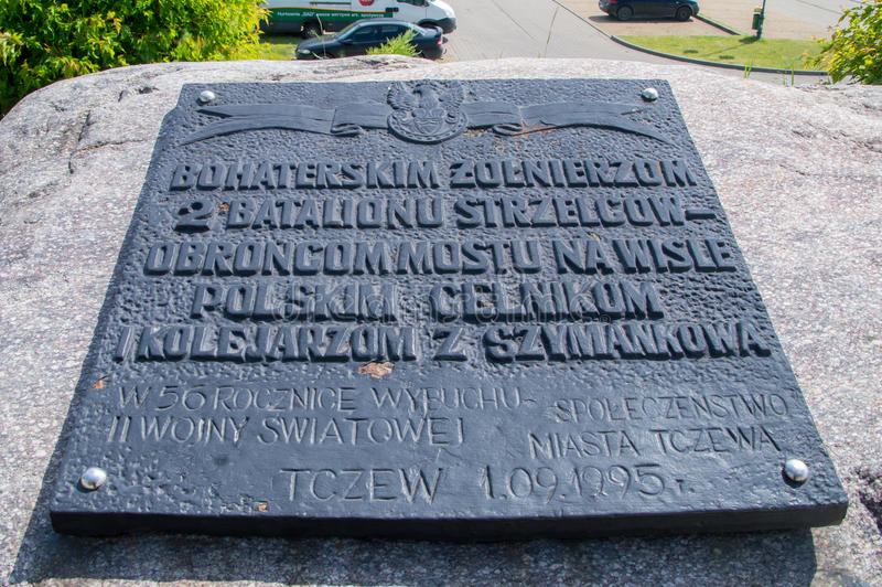 Tczew, Poland - June 18, 2017: Memorial for memorize Soldiers defending the bridge during the Second World War. Tczew, Poland - June 18, 2017: Memorial for stock photography