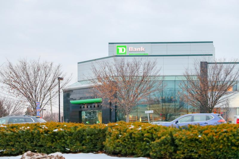TD银行外部标志 一家名列前茅十银行在北美 免版税图库摄影
