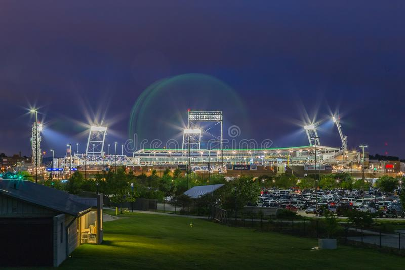 TD Ameritrade棒球场在晚上 图库摄影