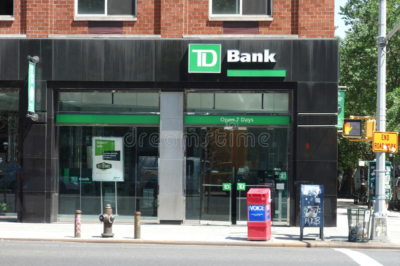 TD Bank. A branch of TD Bank on Third Avenue, in Manhattan. TD Bank has more than 1,200 locations in the United States royalty free stock images