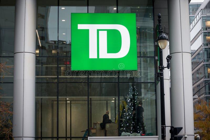 TD Bankembleem voor hun hoofdkwartier voor Montreal, Quebec stock afbeeldingen