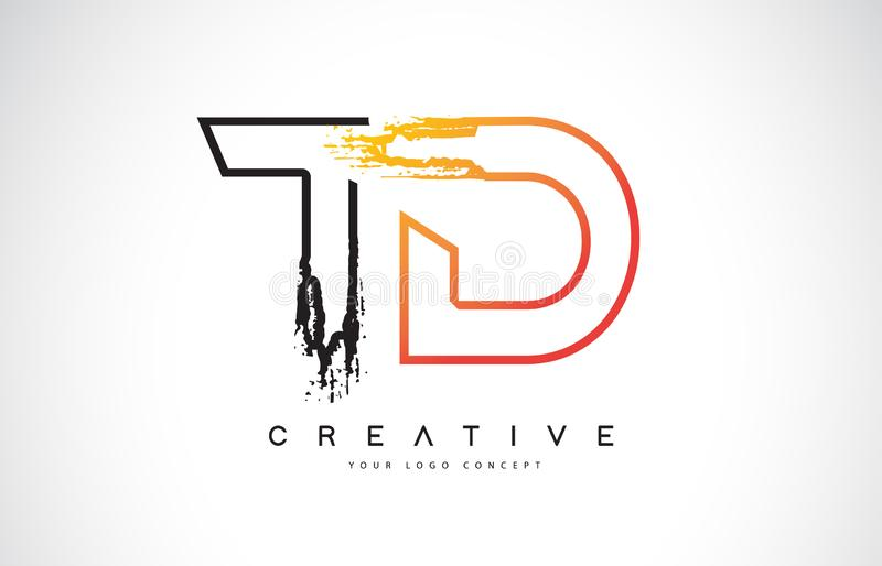 TD Creative Modern Logo Design with Orange and Black Colors. Mon. TD Creative Modern Logo Design Vetor with Orange and Black Colors. Monogram Stroke Letter royalty free illustration