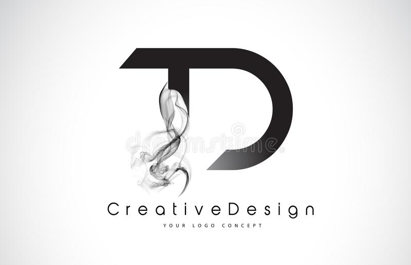 Td Letter Logo Design With Black Smoke Stock Vector Illustration