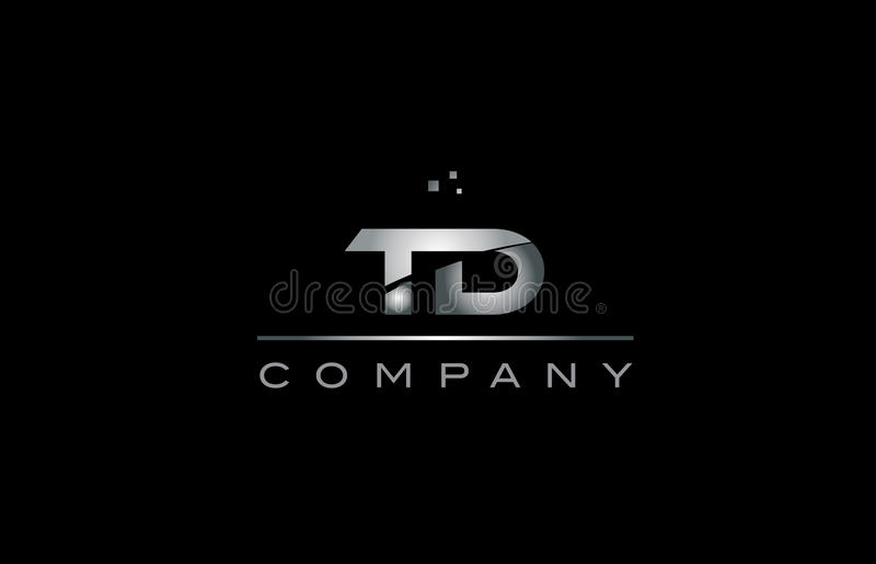 td t d银灰色金属金属字母表信件商标象 皇族释放例证