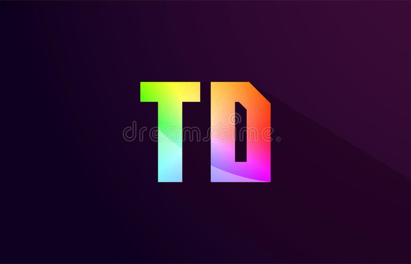 Td T D Letter Combination Rainbow Colored Alphabet Logo Icon Des