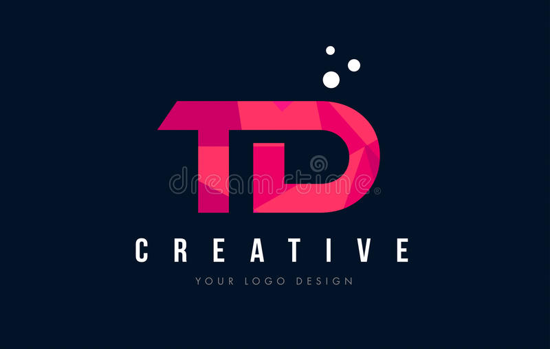 Td T D Letter Logo With Purple Low Poly Pink Triangles Concept Stock