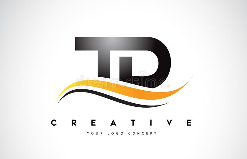 Td T D Swoosh Letter Logo Design With Modern Yellow Swoosh Curve