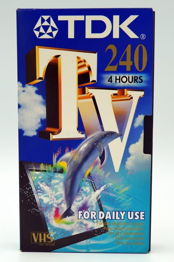 TDK VHS τηλεοπτική κασέτα καταγραφής εγχώριων συστημάτων τηλεοπτική στοκ εικόνες με δικαίωμα ελεύθερης χρήσης