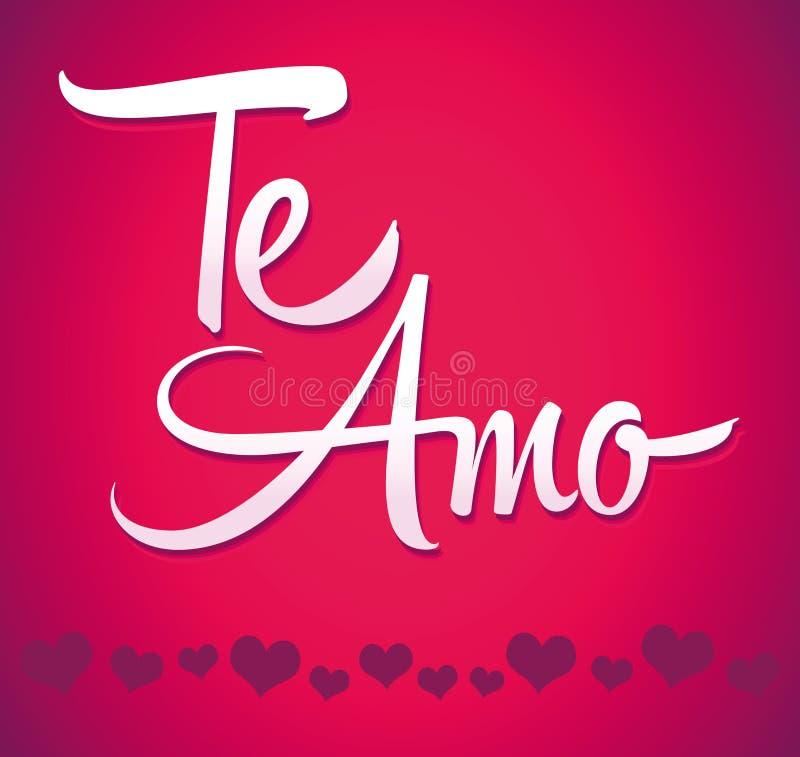 Te Amo - amor espanhol você rotulação - caligrafia ilustração royalty free