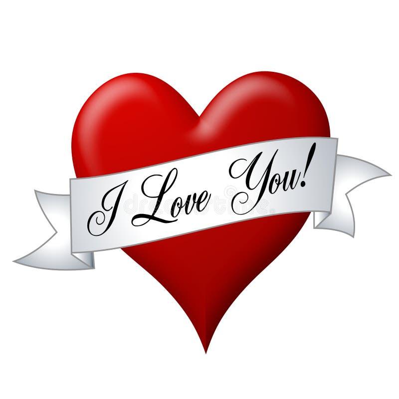 Te amo bandera con el corazón stock de ilustración