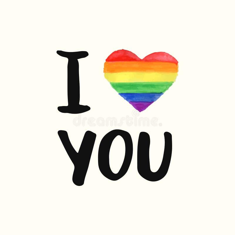 Te amo Cartel inspirado del orgullo gay stock de ilustración
