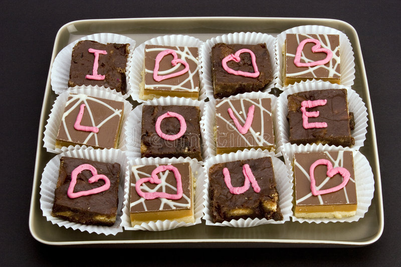 Te amo chocolates fotos de archivo