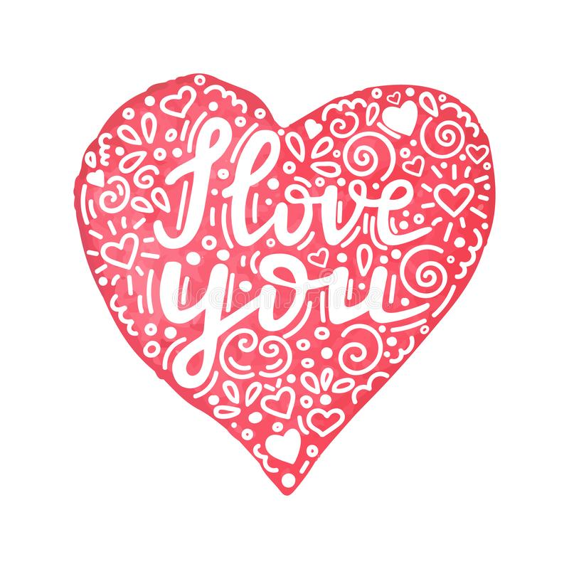 Te amo cita escrita mano en corazón exhausto de la mano de la acuarela con el ornamento floral Tarjeta hecha a mano de día de San ilustración del vector