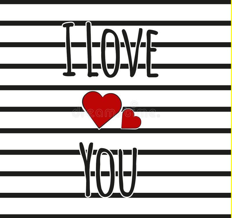Te amo Corazón Forme el lema divertido con un remiendo de la cereza para la impresión gráfica del vector de la camiseta y de la r stock de ilustración