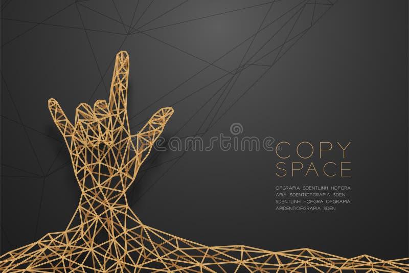 Te amo dé a forma del lenguaje de signos el polígono del wireframe de la vista delantera estructura de oro del marco, ejemplo del ilustración del vector