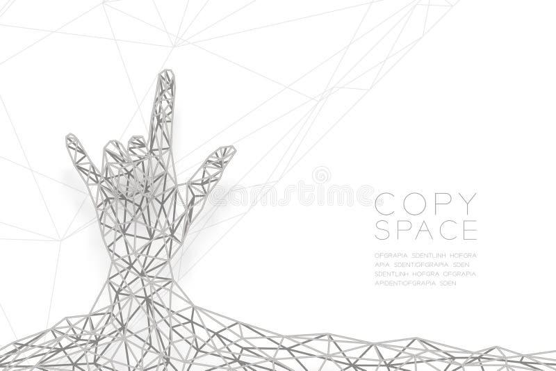Te amo dé a forma del lenguaje de signos la estructura del marco de la plata del polígono del wireframe de la vista delantera, ej stock de ilustración