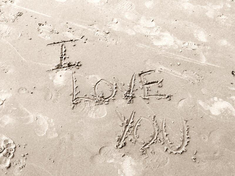 Te Amo En Arena Imagen de archivo libre de regalías