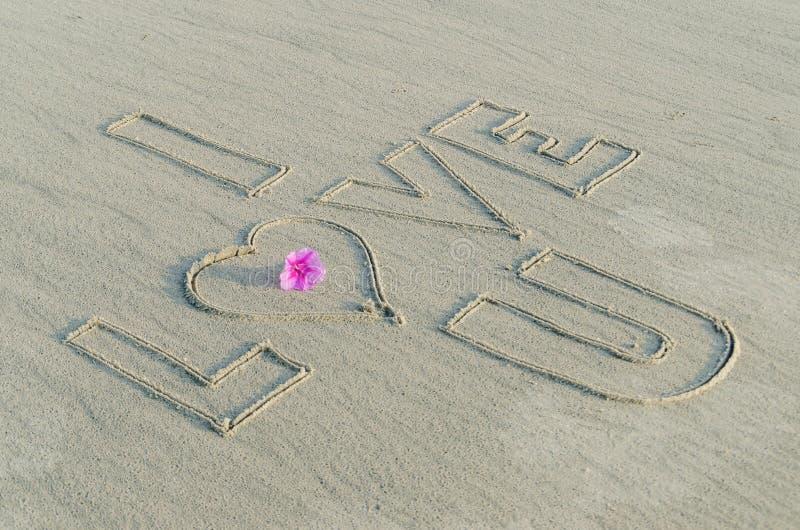 Te amo en la arena fotografía de archivo libre de regalías