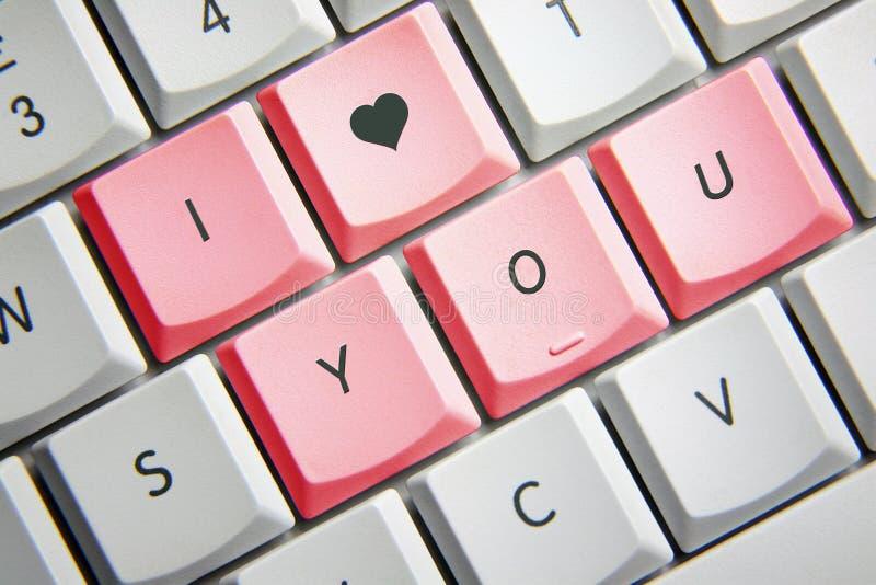 Te amo en teclado imagenes de archivo