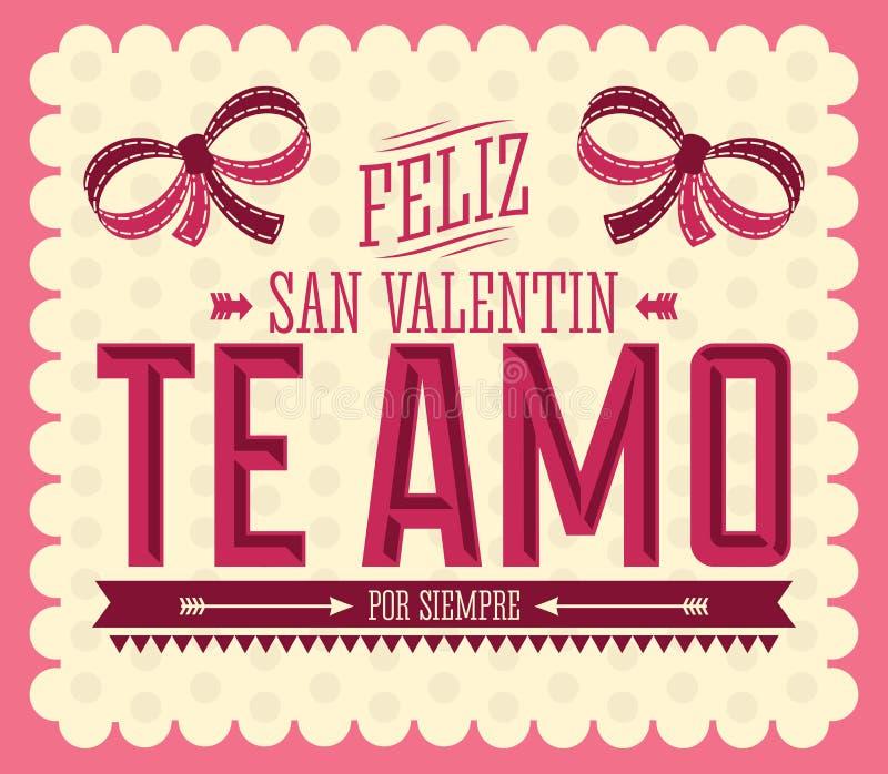 Download Te Amo Feliz San Valentin ilustración del vector. Ilustración de  carta - 37088425