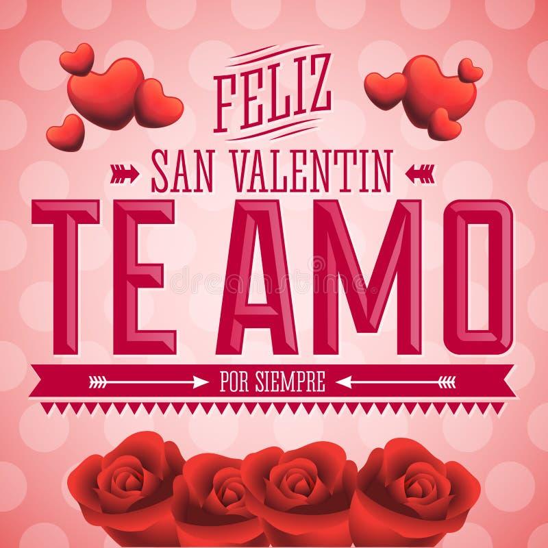 Te Amo Feliz San Valentin - I Love You Happy Valentines Day spanish text. Flowers vector card design stock illustration