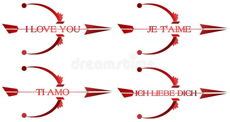 Te amo flechas ilustración del vector
