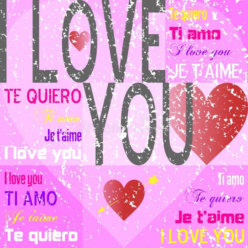 Te amo [Grunge rosado] ilustración del vector