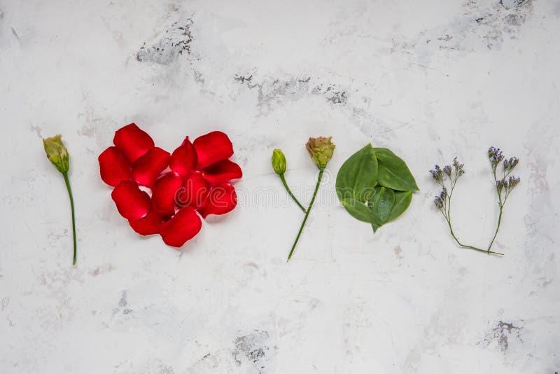 Te amo - hecho de flores, de pétalos y de hojas fotografía de archivo libre de regalías