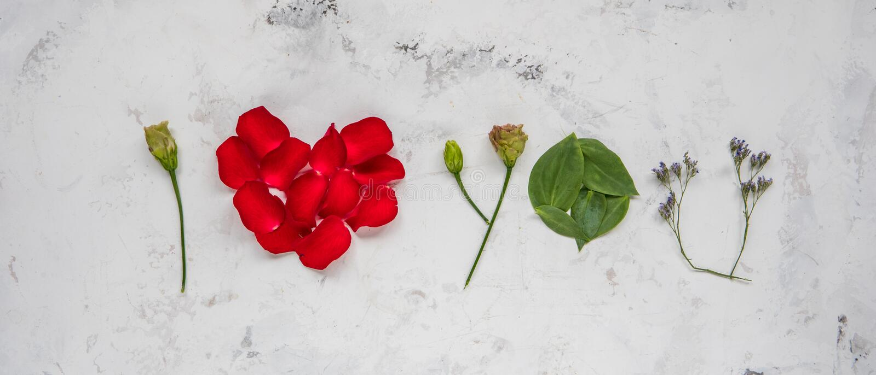 Te amo - hecho de flores, de pétalos y de hojas fotos de archivo