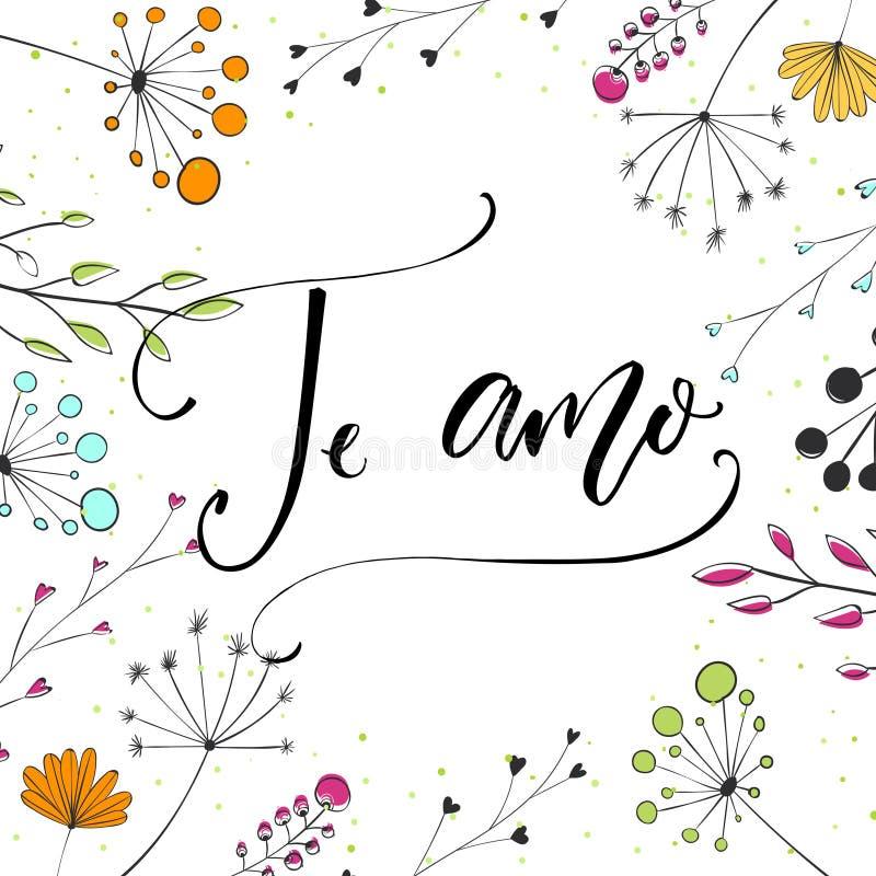 Te amo - I-liefde u in Spaanse taal Moderne kalligrafie voor de dagkaart van Valentine ` s Vectortypografie en wilde bloemen vector illustratie
