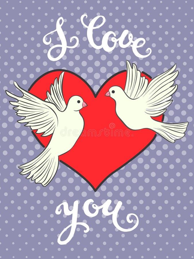 Te amo Impresión dibujada mano con las letras y un par de pájaros de las palomas ilustración del vector