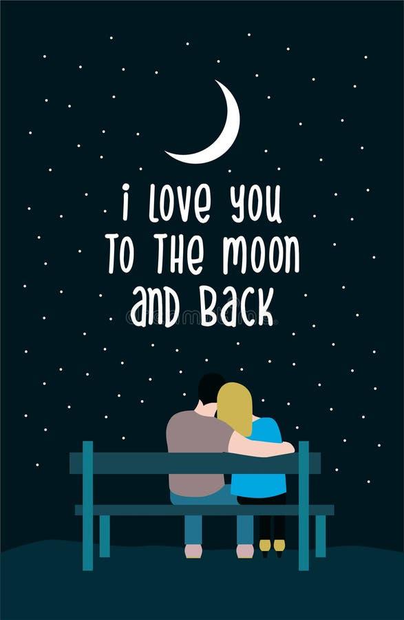 Te amo a la luna y al cartel trasero de las letras de la tipografía con la silueta romántica de pares cariñosos en un banco libre illustration