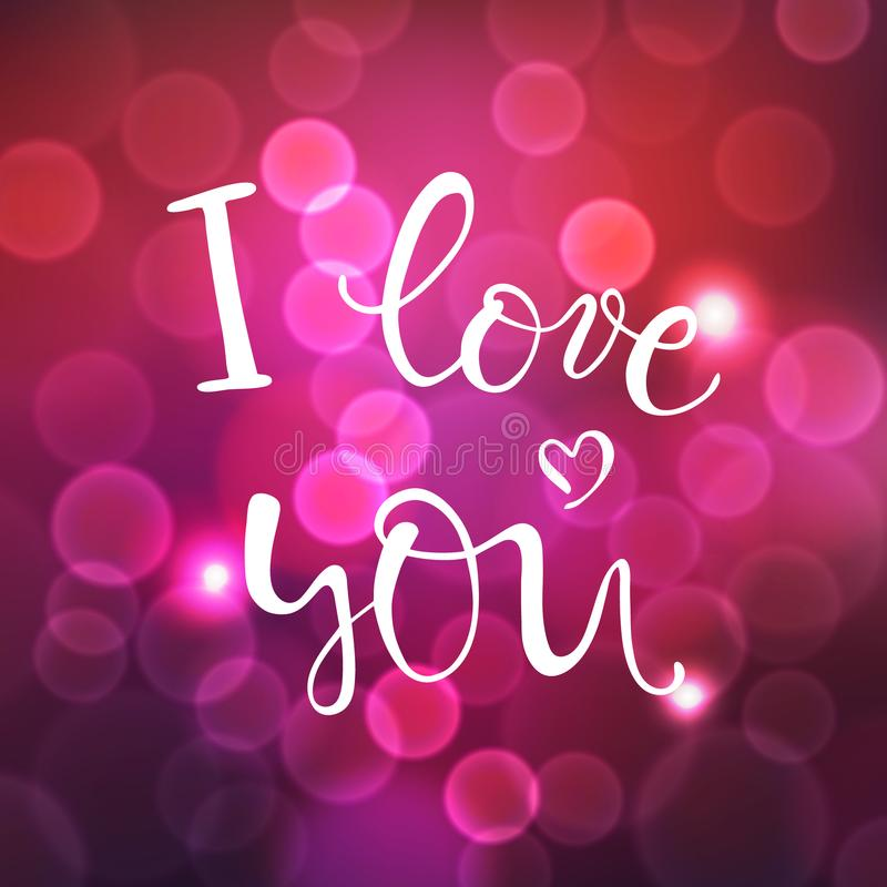 Te amo, letras del vector, texto manuscrito para el día de tarjetas del día de San Valentín en fondo rosado oscuro borroso con el ilustración del vector